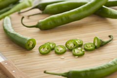 Green hot chili peppers Royalty Free Stock Photography