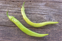 Green hot chili peppers Stock Images
