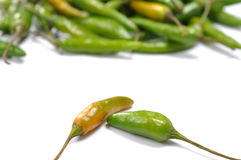 Green hot chilli peppers Royalty Free Stock Images