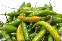Green hot chilli peppers Royalty Free Stock Photos