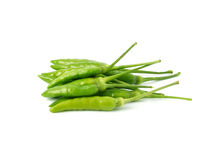 Green hot chilli peppers Stock Photos