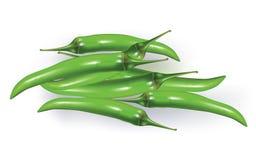 Green hot chillies Stock Photos
