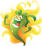Green hot pepper on fire cartoon Royalty Free Stock Photo