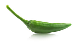 Green hot pepper on white with reflection Stock Photography