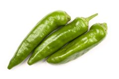 Green Hot Peppers. Chili peppers isolated on white background Stock Photography