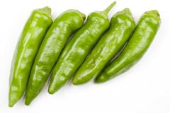 Green Hot Peppers Stock Images
