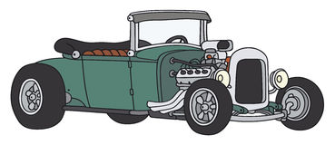 Green hot-rod. Hand drawing of a funny old convertible Royalty Free Stock Images