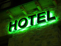 Green hotel advertisement Stock Photography