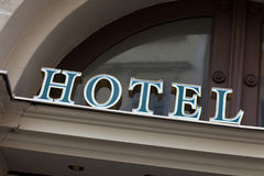 Green hotel sign Royalty Free Stock Images