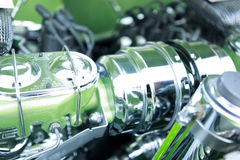Green hotrod engine Royalty Free Stock Images