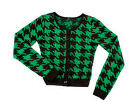 Green houndstooth check pullover. Isolated on white background. Clipping path included Royalty Free Stock Photo