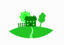 Green house. Tree, fence and sun as real estate symbol, vector illustration Royalty Free Stock Photos