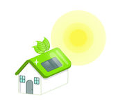 Green house. Illustration of green house concept: a green roof building with solar panel and leaves on the roof Stock Photos