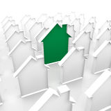 Green house. A green house around other houses Royalty Free Stock Photography