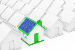 Green House with Blue Solar Panels in among White Houses. 3d Ren Stock Photography