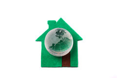 Green house with crystal globe Royalty Free Stock Images