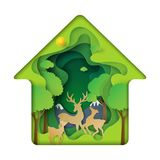 Green house of deers family with nature concept paper art backgr Royalty Free Stock Photo
