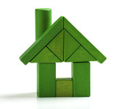 Green house, energy efficiency home save heat and ecology Toy. Green house, energy efficiency home save heat and ecology. Toy blocks isolated white background stock photography