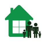 Green house and family color vector Royalty Free Stock Image
