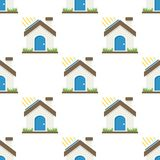 Green House Flat Icon Seamless Pattern vector illustration