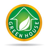 Green house icon with leaf Stock Photography