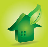 Green house icon with leaf. Abstract illustration with background Vector Illustration