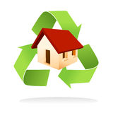 Green house isolated. Illustration of house with green recycle symbol as a low impact home Stock Photo