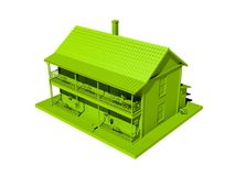 Green house isolated on a white background. Illustration of a house Royalty Free Stock Image