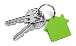 Green House Keys. Set of Keys With Green House Isolated on White Background Stock Images