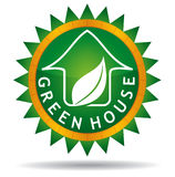 Green house with leaf. Abstract illustration with background Royalty Free Illustration
