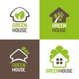 Green House Logo. Concept of eco friendly green houses. Set of  logos Stock Photos