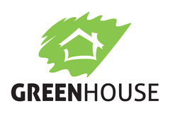 Green house logo. Logo design of a leaf and house combine in one Royalty Free Stock Photo