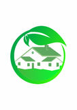 Green House Logo, Green logo of eco house with leafs Stock Images