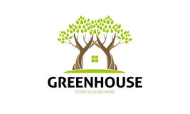 Green House Logo. Minimalist and modern green house logo template. Simple work and adjusted to suit your needs Stock Photography