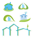 Green house logo set Royalty Free Stock Photo