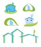 Green house logo set. Green, eco house logo set Royalty Free Stock Photo