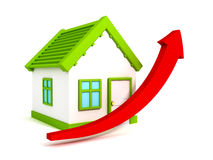 Green house and red arrow grow up, real estate. Price metaphor 3d render illustration Royalty Free Stock Photo