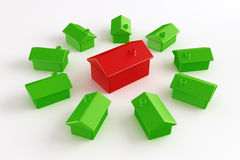 Green house with red in center Stock Photo