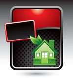 Green house on red stylized banner template Royalty Free Stock Image