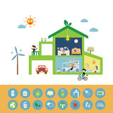 Green house save the planet. Vector green house save the planet Stock Image