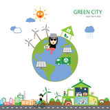 Green house save the planet. Vector green house save the planet Royalty Free Stock Images