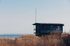 Green house on the shore of a large lake. Boat station amidst grass and water royalty free stock photos