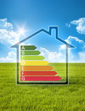 Green house in the sun with energy efficiency graph Royalty Free Stock Image