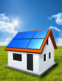 Green house in the sun with solar panels Stock Photos