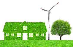 Green house symbol with wind turbine and tree Royalty Free Stock Photos