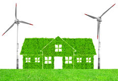 Green house symbol with wind turbines Royalty Free Stock Photo