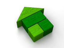 Green house toy. Green toy house on white background Stock Image