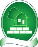 Green house, tree and rich. Emblem with green house, tree and rich stock illustration