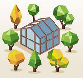 Green House and trees Stock Images