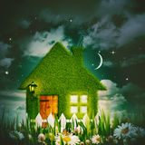 Green house under the starry night skies. Environmental backgrounds Stock Photos